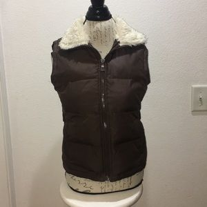 Maurices Brown Puffy Vest With Faux Fur Si…